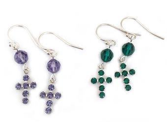 Dangle Cross Earrings for Communion Girls Women Sterling Silver