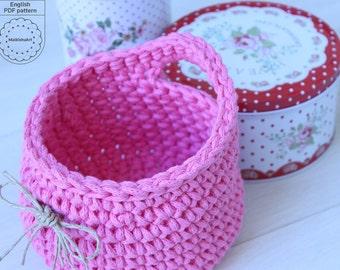 Crochet HANGING BASKET pattern, crochet pattern, Crochet basket pattern, home decor baket, storage basket, crochet pattern, crochet pdf