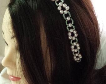 Pink pearl headband, pearl headpiece, bridal headpiece, wedding hair jewelry