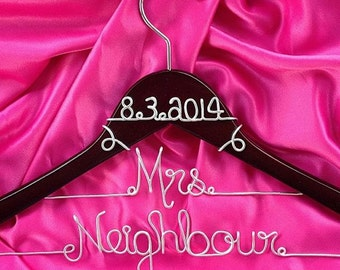 Personalized Custom Two Line Bridal Hanger with the Date at the Top