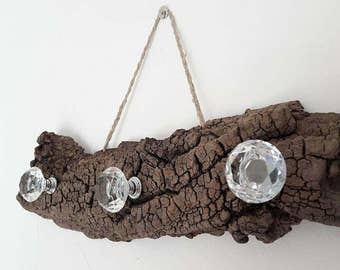 Wall mounted display rack in natural driftwood,
