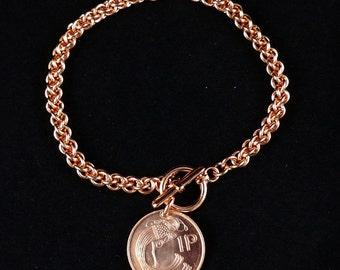 "7.5"" Copper Jens Pind Bracelet with Irish Penny Charm"