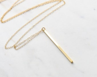 Vertical bar necklace, Long gold necklace, Long necklace, long necklace with pendant gold, Bar necklace, Gold bar necklace, Bar pendant
