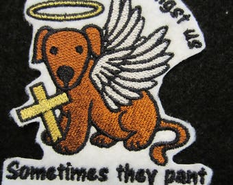 Embroiderd Angel Dog Iron On Patch, Dog Patch, Dog Applique, Dogs, Rescue Dog. Pets, Iron On Pastch, Iron On Dog Patch