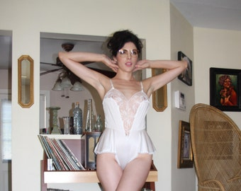 Vintage white lace and nylon teddy
