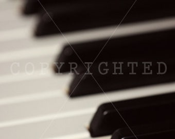 piano keys in vibrant black and white with slight blur print (5x7)