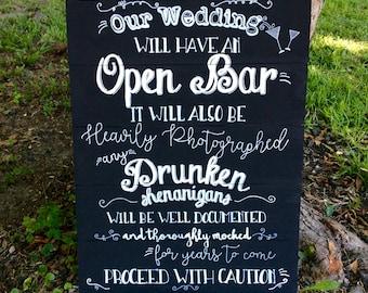 Open bar wedding sign, chalkboard style wedding sign, reception decor, wedding decor, wedding bar alcohol sign