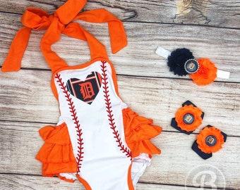 Detroit Tigers Romper, Detroit Tigers Baby Clothes, Detroit Tigers Baby Girl, Tigers Game Day Outfit