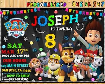 Paw Patrol Birthday Invitation Printable Invite Party