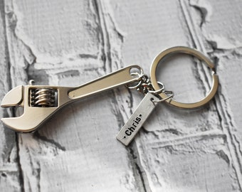 Personalized Name Wrench Keychain- Carpenter Tool Keychain Gift- Handyman Husband Gift- Stamped Silver Keychain Key Ring