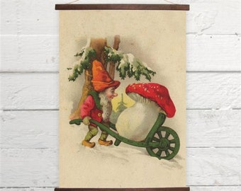 Vintage Gnome With Toadstool Very Cute :) Red Mushroom Canvas Poster Print Wooden  Wall Chart Size A3 16x11