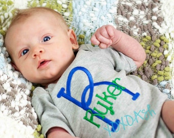 Initial Name Bodysuit Boys Stacked Name in Blue and Green--newborn gift baby shower gift going home outfit--Embroidered shirt or Bodysuit
