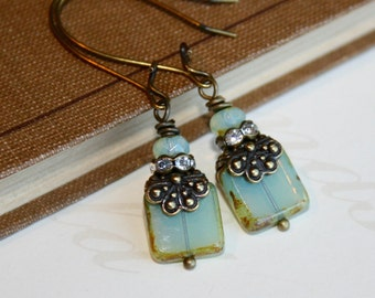 Sea Green Picasso earrings, Picasso bead earrings, Sea Green earrings, Long dangle earrings