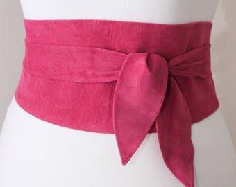 Pink Suede Obi Belt | Corset Waist Belt | Sash Belt |Suede Leather Belt| Tie obi Belt | Plus size | Leather Wrap Belt