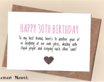 Birthday Cards Wishes For Best Friend ~ Th birthday card etsy