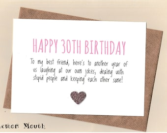 30th birthday card etsy funny best friend 30th birthday card bestie love friends thirty humour bookmarktalkfo Image collections