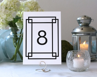 Art Deco Black and White Frames Table Number Vintage Antique Wedding Marker