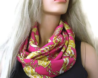 Pink and golden yellow satin Infinity scarf   designer print loop circle scarf Tube version