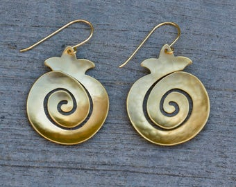 Infinity Spiral Pomegranate earrings