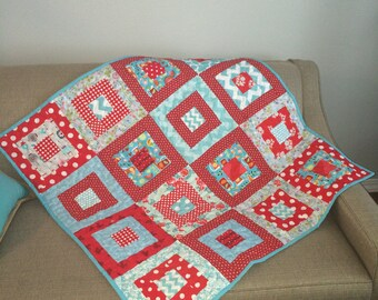 baby girl quilt , READY TO SHIP , Modern baby quilt ,mat for baby ,car seat blanket ,modern quilt ,toddler quilt,red and aqua , 39 x 39 inch