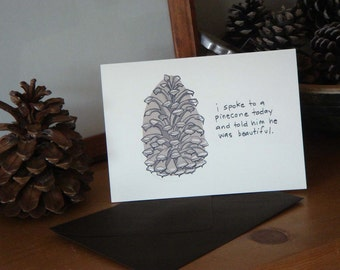 Beautiful Pinecone Blank Card with Envelopes - Set of Four