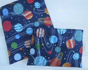 Reusable sandwich bags - Reusable snack bag - Gender neutral sandwich bags - Zero waste lunch bags - Galaxy planets