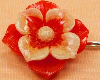 Large Vintage Red Flower Hairpin