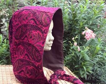 Pink & Black Paisley Hood, Snood, Scoodie