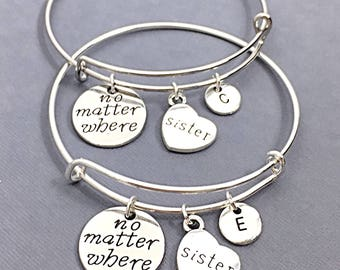 SET OF 2 Sister Bangle Bracelet, Sister Charm Jewelry, Gift for Sister, Sister Friends,  set of 2, Personalized, Custom, Sister BFF, Friends