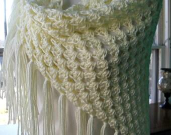 bridal wrap crochet granny square shawl triangle fringe scarf ivory