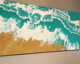 Large ocean fluid painting