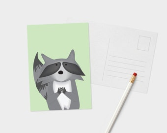 Raccoon Portrait Postcard - Cute Animal Postcard - Akward Animal Postcard - Postcard for Animal Lover - Racoon Lover Postcard