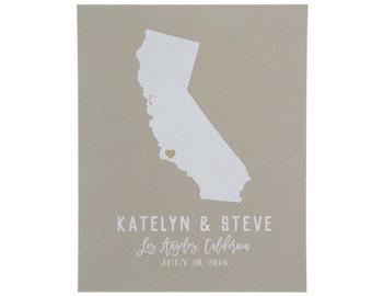 State Wedding Art Print ~ State Wedding Sign ~ State Art Print ~ Wedding Gift