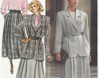 1980s Evan Picone Womens Lined Jacket, Below Knee Skirt & Blouse Butterick Sewing Pattern 5777 Size 12 14 16 Bust 34 36 38 UnCut