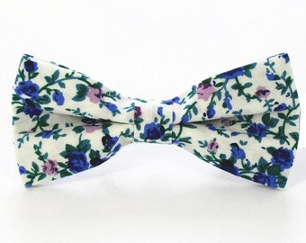 White/Blue Floral Bow Tie | floral bowtie pretied | wedding bow tie | wedding ideas | ideas | groom | floral bow tie | flower bow tie | gift
