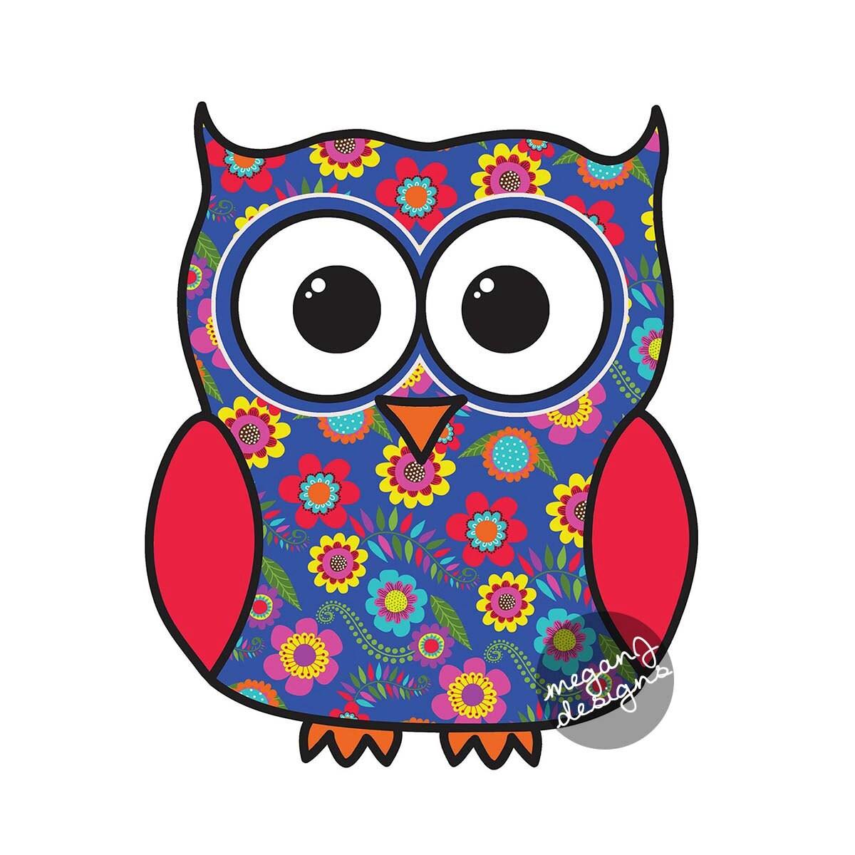 Blue floral owl car decal sticker cute colorful owl bumper - Dessin chouette rigolote ...