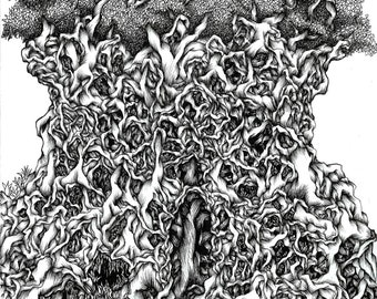 Forest Temple, Giclee art print. Original drawing, Black and white art, Ink drawing, Fine art print, Original art, Surreal, Ink art