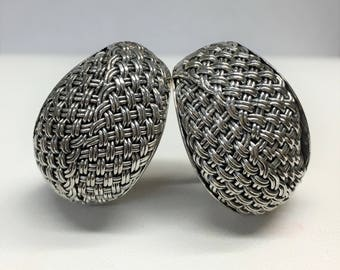 Desak Nyoman Suarti Sterling Silver Weave Design Clip-on Earrings - 925 BA - Bali Designer