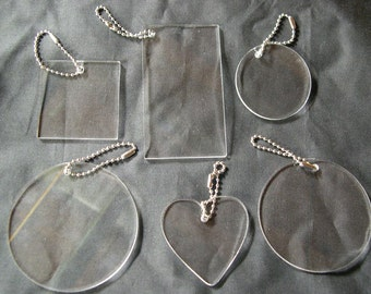 Clear Sampler Set Of Acrylic Blanks Key Chains, Circles, Square, Rectangle, and Heart, Great for vinyl applications
