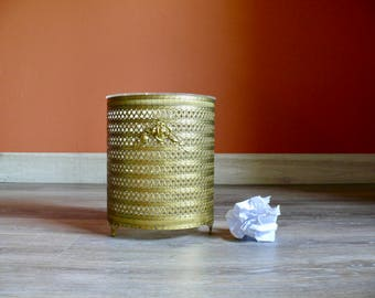Round Gold Filigree Metal Trash Can, Rose Detail, Removable Clear Lucite Liner, Footed Waste Paper Basket, Mid Century Office Home Decor