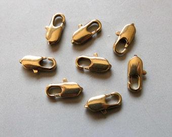 50pcs Raw Brass Lobster Claw Clasp 14mm x 5mm- F292