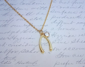 Wishbone gold necklace with crystal