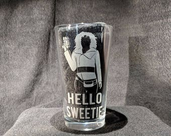 Hello Sweetie River Song Etched Pint Glass