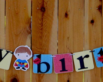 Super Hero Birthday Banner - Boy Birthday Banner