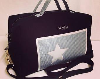 CUSTOM bag has diaper black + grey + silver