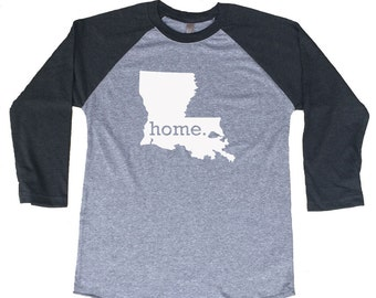 Homeland Tees Louisiana Home Tri-Blend Raglan Baseball Shirt