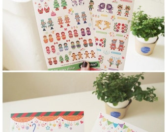 Set of 2 Sheets Matryoshka Dolls Story & Toy Index Stickers (P118)