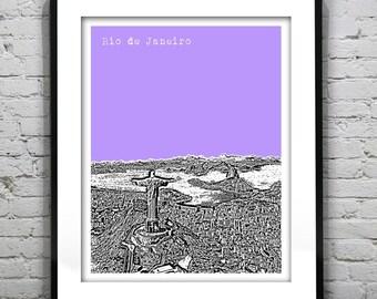 Rio de Janeiro Poster Print City Skyline Art Brazil