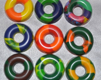Recycled Crayons Ring Shaped - Total of 9 Crayons.  Boy or Girl Kids Unique Party Favors, Crayons.