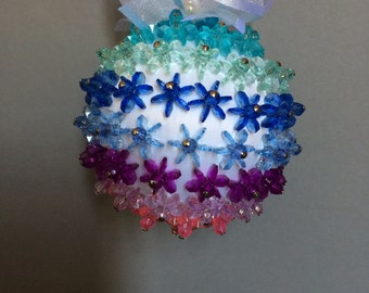 Starflake Collection/White with Multi-Colored Starflake ChristmasOrnament/Handmade